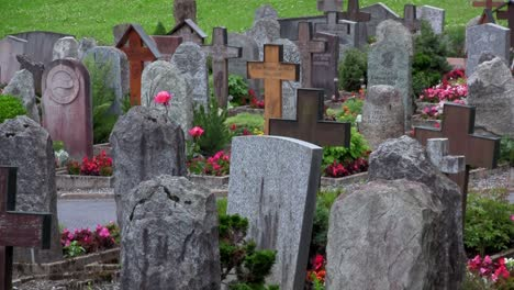 An-old-cemetery-with-ancient-gravestones
