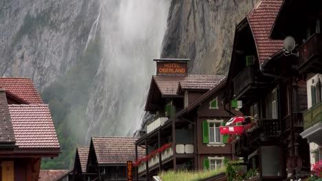 Lauterbrunnen-Switzerland-with-waterfall-behind-town