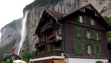 Lauterbrunnen-Switzerland-with-waterfall-behind-town-1