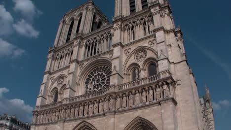 Handheld-tilt-up-Notre-Dame-Cathedral-Paris-France