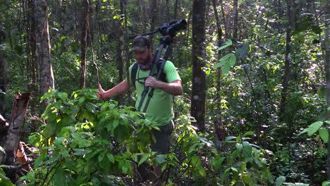 A-filmmaker-walks-through-a-jungle-or-rainforest-with-camera-and-tripod