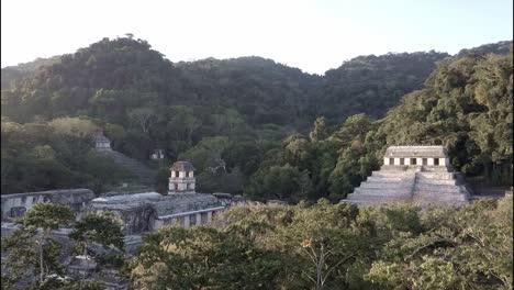 An-aerial-view-over-Palenque-Mayan-pyramids-in-Mexico