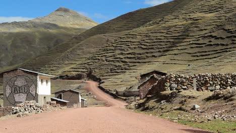 Static-village-road-hillside-shot