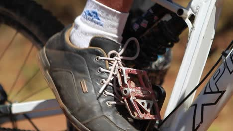 Closeup-of-bikers-foot-on-the-pedal