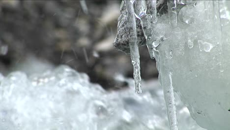 Water-dripping-off-icicles-water-rushing-by