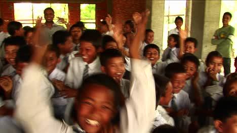 Cheering-Nepalese-school-children