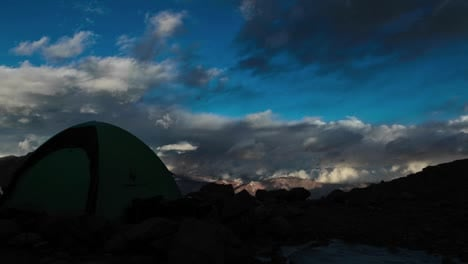 Aconcagua-Time-lapse-high-camp-with-tent-sunset-1