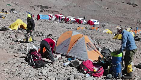 Aconcagua-Time-Lapse-Climbers-packing-at-basecamp