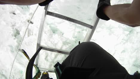 POV-climber-descending-ladder
