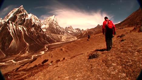 Plano-General-De-Trekker-Cerca-De-Dukla-En-El-Monte-Everest