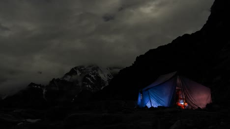Tent-at-night-climbers-in-and-out