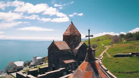 Aerial-of-Sevanavank-Monastery-on-Lake-Sevan-in-the-Caucasus-mountains-of-Armenia