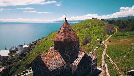 Aerial-of-Sevanavank-Monastery-on-Lake-Sevan-in-the-Caucasus-mountains-of-Armenia-1