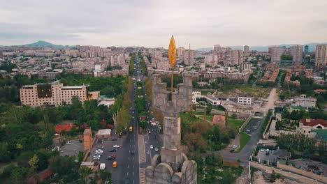 Aerial-over-monument-in-Yerevan-capital-city-of-Armenia