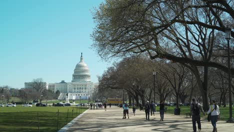 People-walk-on-the-mall-in-Washington-DC-with-US-Capital-building-Capitol-Hill-Congress-on-a-spring-day-1