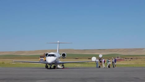 A-private-jet-on-a-parking-pad-at-a-private-airfield-in-Deer-Lodge-Montana
