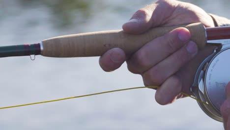 Cerca-De-Un-Pescador-Con-Mosca-Con-Excelente-Técnica-Trabajando-Su-Caña-Y-Carrete