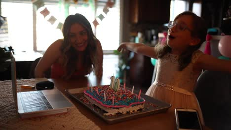 Imágenes-De-Una-Modelo-Liberada-Madre-E-Hija-Celebrando-Un-Cumpleaños-En-Video-De-Computadora-Reunión-Distanciamiento-Social