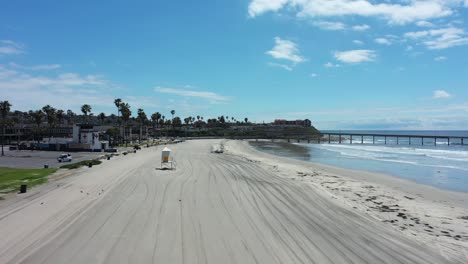 Aerial-of-empty-abandoned-beaches-of-southern-california-with-no-one-during-covid19