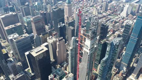 Aerial-of-a-thin-skyscraper-under-construction-on-West-57th-Street-in-New-York-City-New-York