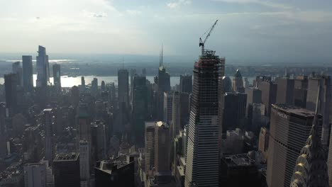 An-aerial-view-shows-skyscrapers-off-42nd-Street-in-New-York-City-New-York