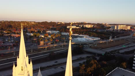 Beautiful-aerial-over-Angel-Moroni-and-the-spires-of-the-Mormon-Temple-in-La-Jolla-San-Diego-California