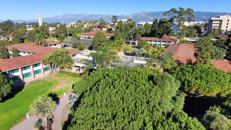 Aerial-of-the-University-of-California-Santa-Barbara-UCSB-college-campus-along-beach-and-lagoon-3