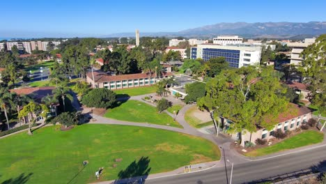 Aerial-of-the-University-of-California-Santa-Barbara-UCSB-college-campus-with-Storke-Tower-distant-and-research-buildings