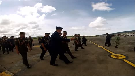 The-Sultan-Of-Brunei-Performs-An-Inspection-Of-Military-Aircraft-On-The-Island-Of-Borneo
