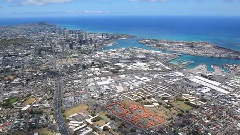 Aerials-Over-Honolulu-Oahu-Hawaii-With-Urban-Sprawl