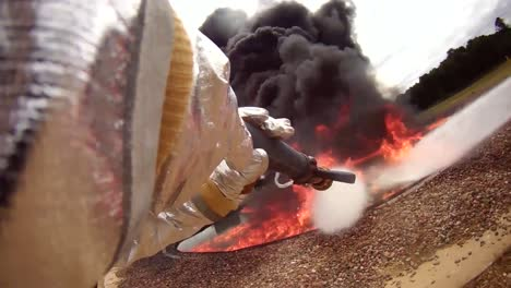 Pov-Footage-Of-Firefighters-Fighting-A-Chemical-Fire