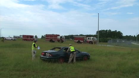 Firefighters-Practice-Responding-To-A-Car-Wreck-Rollover-Accident-1