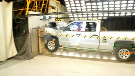 A-Chevy-Pickup-Truck-Is-Crash-Tested-By-The-National-Highway-Transportation-Safety-Board