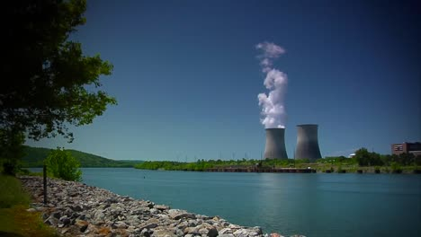 A-Nuclear-Reactor-Sits-Along-A-Riverbank-In-Tennessee