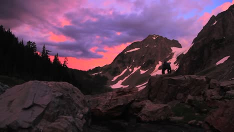 A-Hiker-Explores-The-Mt-Lassen-Wilderness-At-Dusk