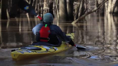 Various-Shots-Of-Kayakers-Paddling-Through-The-Congaree-National-Park-Wilderness-In-South-Carolina-4