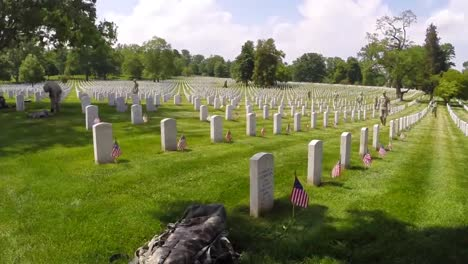 Flags-Are-Placed-On-Gravestones-At-Arlington-National-Cemetery-To-Honor-Us-War-Dead