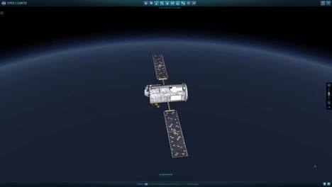 Animation-Of-A-Satellite-Traveling-Through-Space