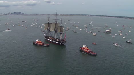Beautiful-Aerials-Of-The-Uss-Constitution-Tall-Masted-Sailing-Vessel-In-Boston-Harbor