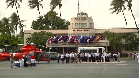 Us-Secretary-Of-Defense-Chuck-Hagel-Speaks-To-Dignitaries-Aboard-An-Aircraft-Carrier-And-At-Hickam-Air-Force-Base-In-Hawaii