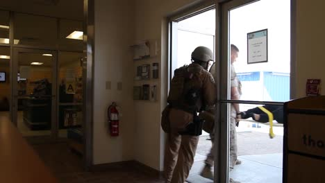 Victims-Are-Removed-By-Stretcher-During-An-Active-Shooter-Exercise-At-A-Military-Base