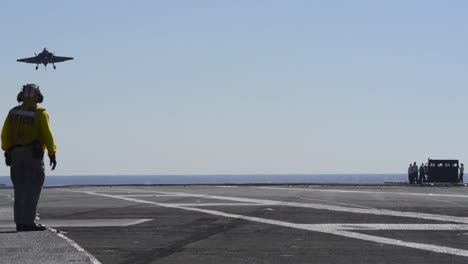 Various-Jets-Land-On-The-Deck-Of-An-Aircraft-Carrier