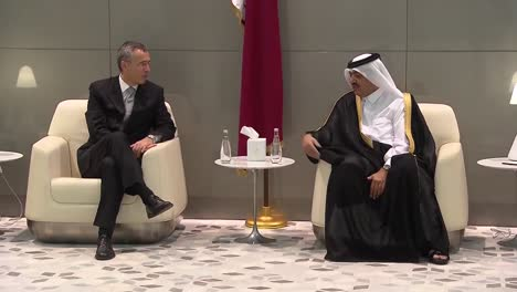A-Nato-Entourage-Led-By-Secretary-General-Jens-Stoltenberg-Arrives-In-Qatar-And-Is-Greeted-By-Royal-Officials-2