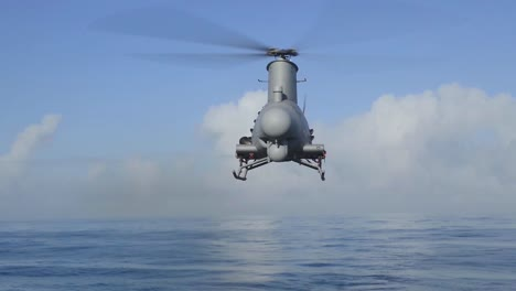A-Fire-Scout-Drone-Helicopter-Is-Launched-From-The-Deck-Of-An-Aircraft-Carrier