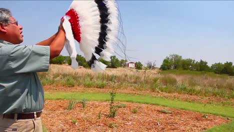 A-Native-American-Indian-Man-Performs-A-Sacred-Prayer
