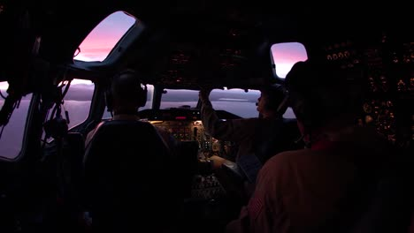 The-Interior-Of-The-Cockpit-Of-An-Airline-In-Flight-With-Pilots
