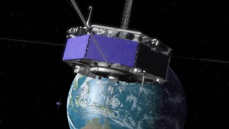 A-Satellite-Rotates-In-Earths-Orbit