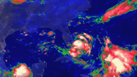 A-Weather-Map-Tracks-Hurricane-Katrina-As-It-Crosses-The-Caribbean-In-2014