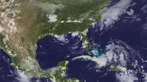 Un-Mapa-Meteorológico-Rastrea-El-Huracán-Katrina-A-Medida-Que-Cruzó-El-Caribe-En-2014-1