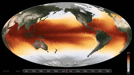 Una-Visualización-Global-Animada-Muestra-La-Temperatura-De-La-Superficie-Del-Mar-Durante-Un-Período-De-Varios-Años